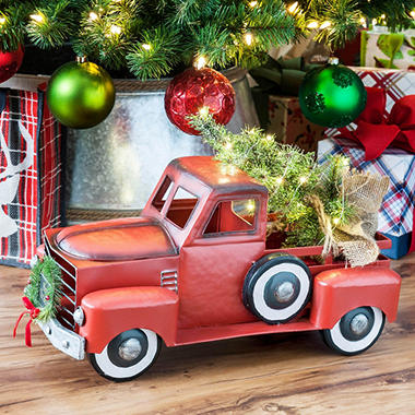 Member S Mark Red Holiday Vintage Metal Truck With Lighted