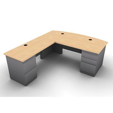 Snap Office L Shaped Single Pedestal Bow Front Desk