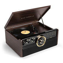 Victrola Empire 6-in-1 Wood Bluetooth Mid Century Record Player with 3-Speed Turntable, CD, Cassette Player and Radio - Espresso