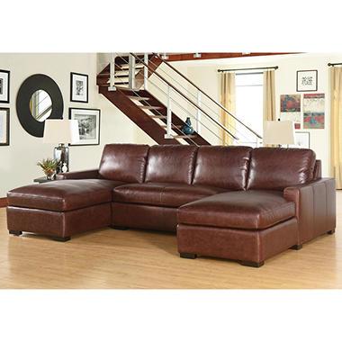 Eiffel full grain vintage leather 3 piece sectional sofa for Ashley encore grain chaise