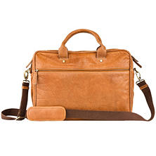 Fionte Top Grain Leather Briefcase, Tan