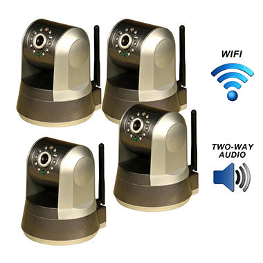 Four Piczel Wi-Fi Wireless Internet Motorized Pan/Tilt Cameras with Smartphone Control and Image ...