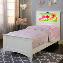 LightHeaded Beds Canterbury Twin Bed with Changeable Backlit Headboard Graphics (Assorted Colors)