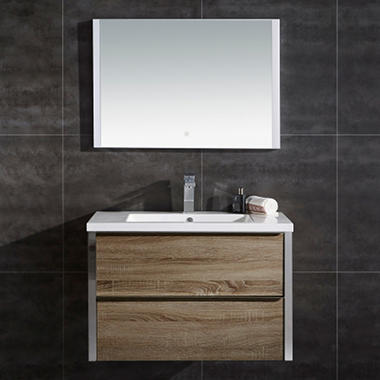ove decors theo 32 led double drawer vanity with led mirror sam 39 s club. Black Bedroom Furniture Sets. Home Design Ideas