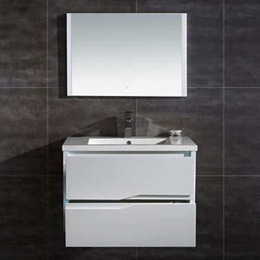 ove decors vela 32 led double drawer vanity with led mirror sam 39 s club. Black Bedroom Furniture Sets. Home Design Ideas