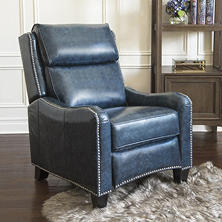 Oliver Top Grain Leather Pushback Recliner, Navy Blue