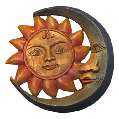 handmade carved wood sun moon wall hanging sam 39 s club. Black Bedroom Furniture Sets. Home Design Ideas