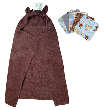 Trend Lab Hooded Towel And Wash Cloth Set Horse 6 Pc