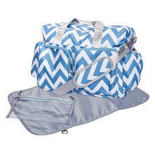Trend Lab Deluxe Duffle Diaper Bag, Blue and White Chevron