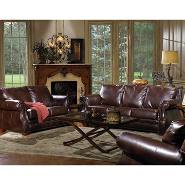 Quest furniture julien 3 piece leather living room set for Three piece leather living room set