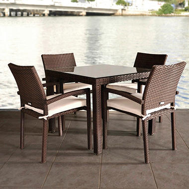 Andana Square Brown Synthetic Wicker Patio Dining Set With