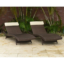 Cavalier Synthetic Wicker Patio Lounge Chairs Choice of Brown or  Gray