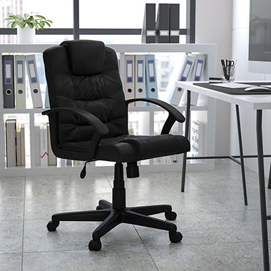 Flash Furniture Mid Back Leather Office Chair Black Sam