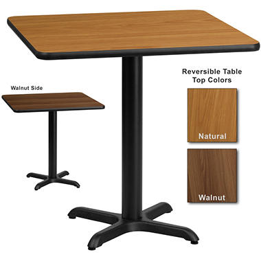 Hospitality table square natural walnut 30 x 30 for 12 x 30 table