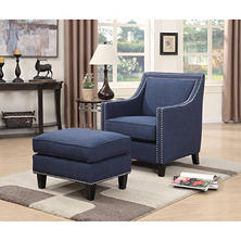 Emery Accent Chair & Ottoman (Assorted Colors)
