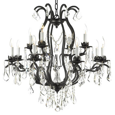 Harrison Lane Wrought Iron And Crystal 12 Light Chandelier