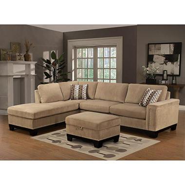 Yosemite Sectional Sofa With Ottoman Left Facing Sam 39 S Club