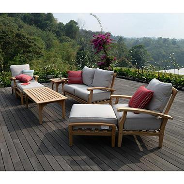 7 pc teak patio seating set choice of cushion color