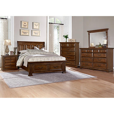 Manchester bedroom furniture set with storage sleigh bed sam 39 s club for Bedroom furniture in manchester