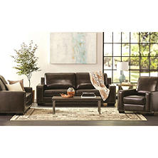 Brighton Hand-Rubbed Top-Grain Leather Sofa, Loveseat and Armchair Set