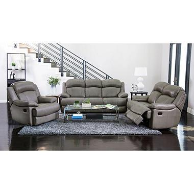 Hamptons Top Grain Leather Reclining Sofa Loveseat And Chair Set Sam 39 S Club
