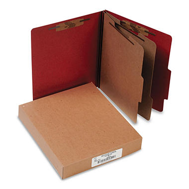 ACCO Pressboard 25-Pt  6-Section Classification Folders, Earth Red (Letter, 10ct.)