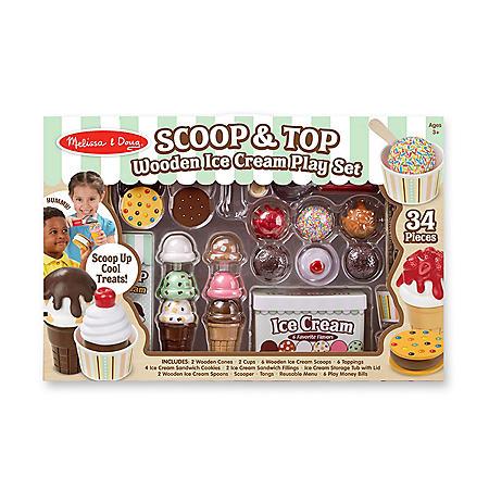 Melissa & Doug Scoop & Top Wooden Ice Cream Play Set