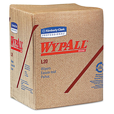 WypAll L20 Limited-Use Wipers, Quarterfold, Natural, 2-Ply (68 sheets per pack, 12 packs)