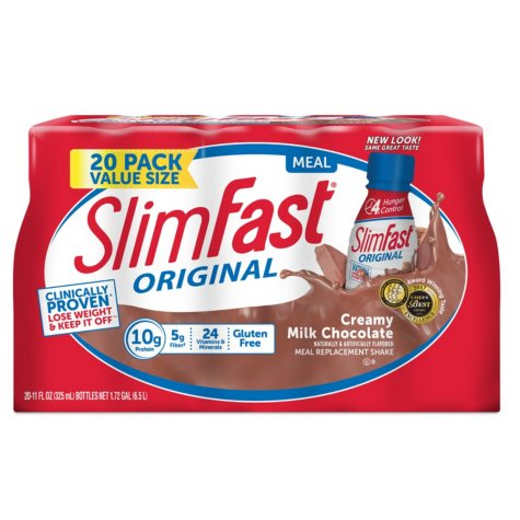 SlimFast Original Creamy Milk Chocolate Ready to Drink Meal Replacement Shakes (11 fl. oz., 20 pack)