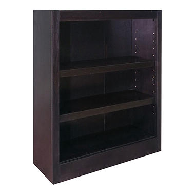 A. Joffe 3-Shelf Single Wide Bookcase, Espresso