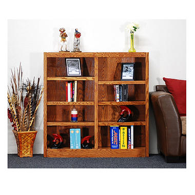 A. Joffe 8-Shelf Double Wide Bookcase, Dry Oak