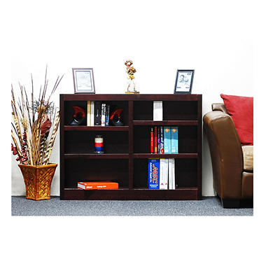 A. Joffe 6-Shelf Double Wide Bookcase, Cherry