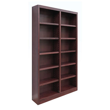 A. Joffe 12-Shelf Double Wide Bookcase, Cherry