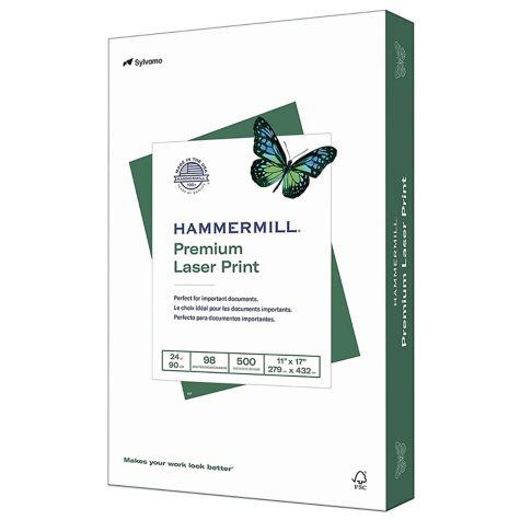 "Hammermill - Laser Print Paper, 24lb, 98 Bright, 11 x 17"" - Ream"