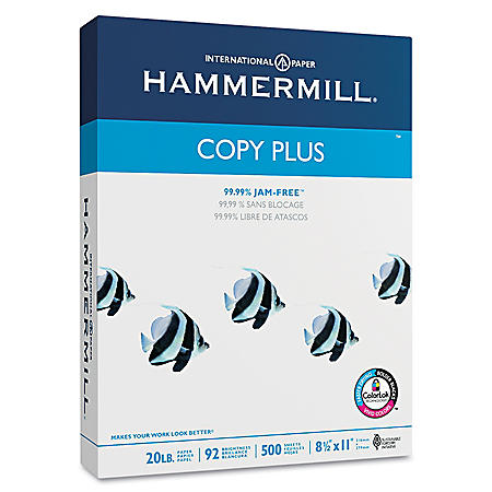 "Hammermill - Copy Plus Copy Paper, 20lb, 92 Bright, 8-1/2 x 11"" - Case"