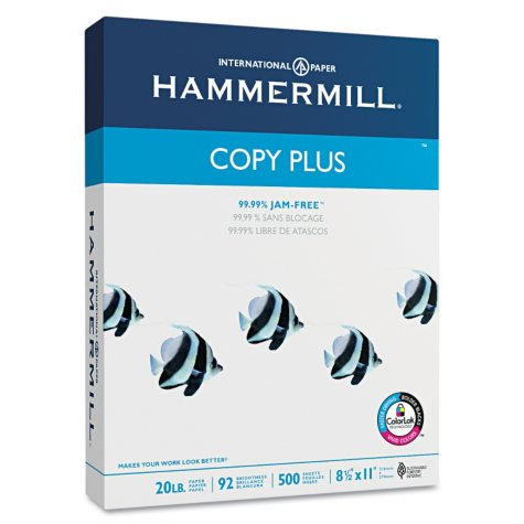 "Hammermill - Copy Plus Copy Paper, 20lb, 92 Bright, 8-1/2 x 11"" - Case"