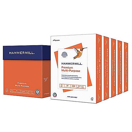 "Hammermill Premium Multipurpose Paper, 24lb, 97 Bright, 8 1/2"" x 11"", 2,500 Sheets"
