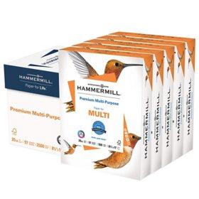 "Hammermill Premium Multipurpose Paper, 20lb, 97 Bright, 8 1/2"" x 11"", 2,500 Sheets"
