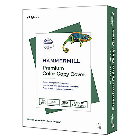 "Hammermill - Color Copy Cover Paper, 60lb, 100 Bright, 8-1/2 x 11"" - 250 Sheets"