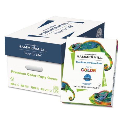 """Hammermill Premium Color Cover, 100 Bright, 100 lb., 8.5"""" x 11"""", Photo White, 250/PK, 6 PK/CT"""