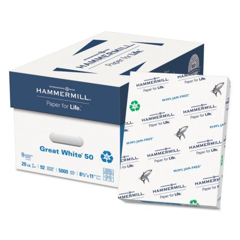 """Hammermill - Great White 50% Recycled Copy Paper, 20lb, 92 Bright, 8-1/2 x 11"""" - Case"""