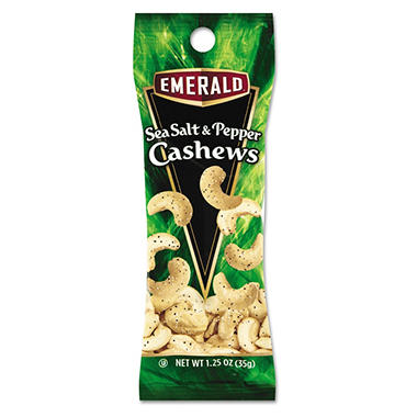 Emerald Sea Salt and Pepper Cashews (1.25 oz. tube package, 12 pk.)