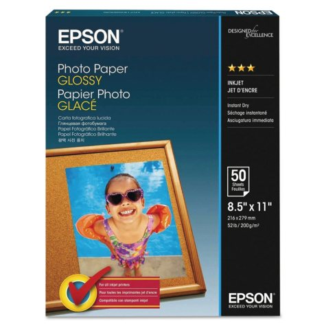 "Epson Glossy Photo Paper, 52 lb., Glossy, 8.5"" x 11"", 100 Sheets/Pack"