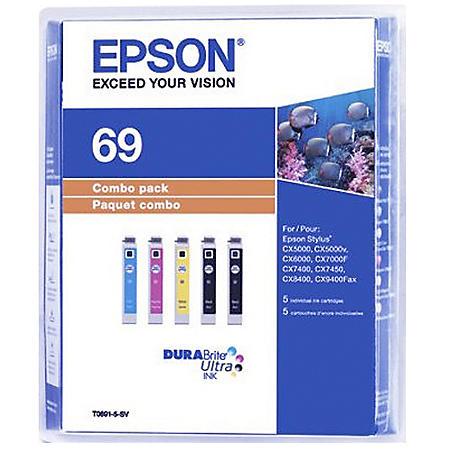 Epson 69 DURABrite Ink Combo Pack, Black/Yellow/Magenta/Cyan (5 ct.)