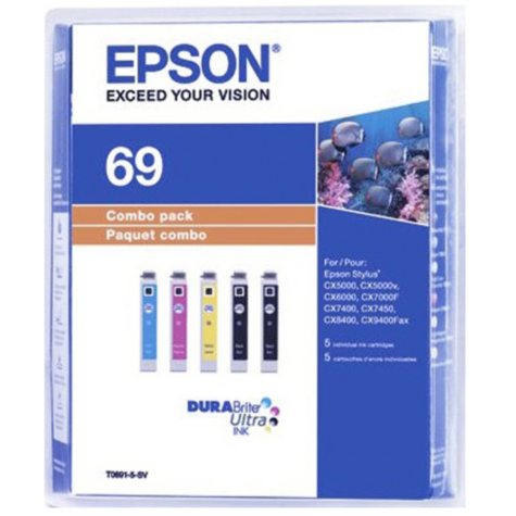 Epson 69 DURABrite Ink Combo Pack, Black/Yellow/Magenta/Cyan (5 ct.)