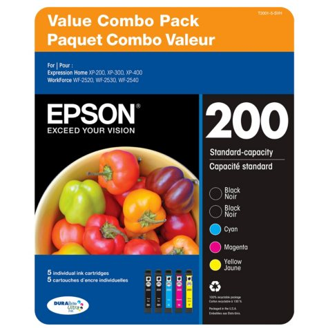 Epson T200 Series Ink Cartridge, Black/Cyan/Magenta/Yellow (5 ct.)
