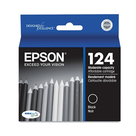 Epson 124 Series Moderate Capacity Ink,  Black (T124120)