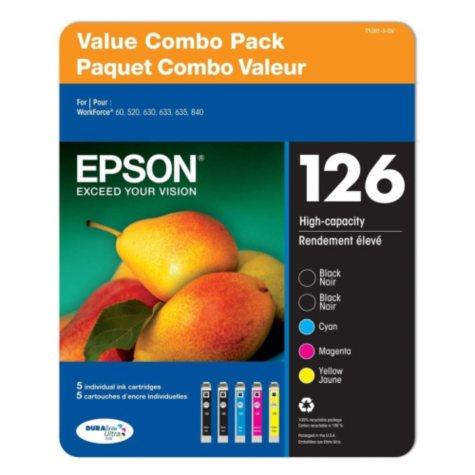 Epson DURABrite T126 Series Ink, Multi Pack (5 pk.)