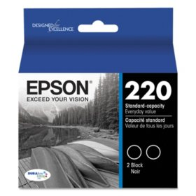 Epson 220 Series DURABrite Ultra Ink, Black (T220120D2, 2pk.)