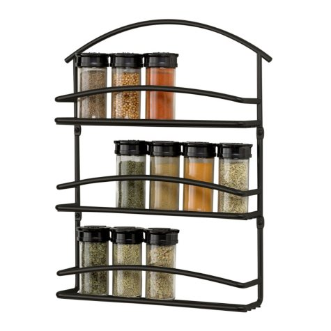Euro Wall Mount Spice Rack - Black